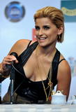 Nelly Furtado speaks during a press conference in the Vina del Mar International Song Festival